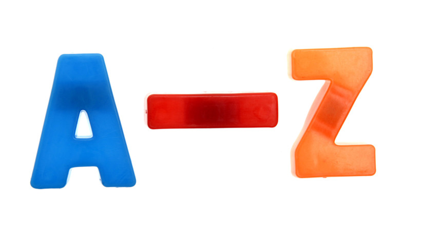 Large blue capital letter A, then large red dash, then large orange capital Z, meaning a to z list.